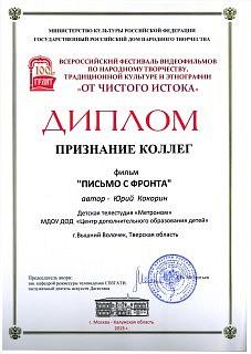 Специальный диплом Признание коллег